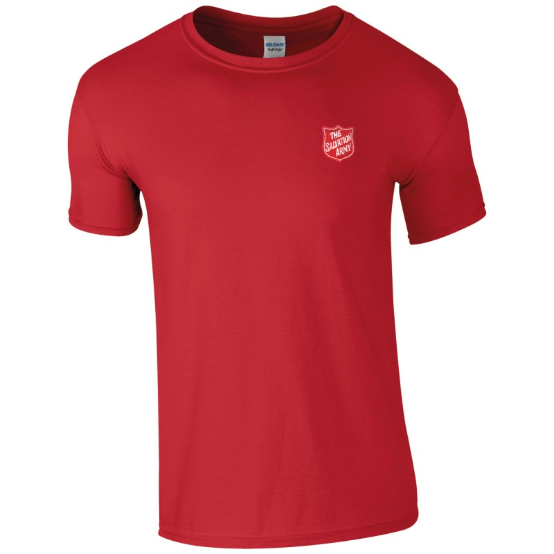 Essentials T Shirt - Red with Shield