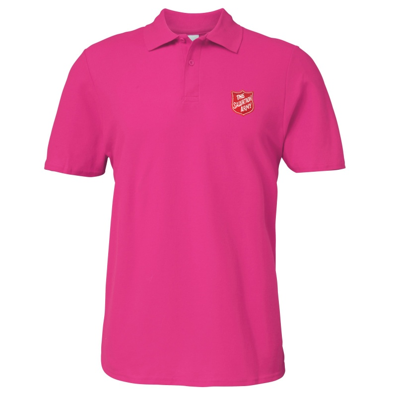 Essentials Polo Shirt - Pink with Shield