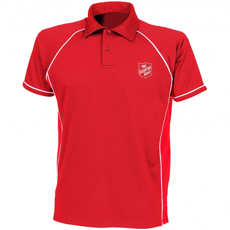 Premium Polo Shirt - Red with Shield