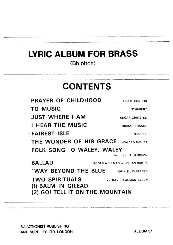 Instrumental Album No.31 - Lyric Album for Brass
