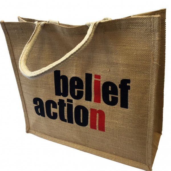Belief in Action Hessian Jute Bag