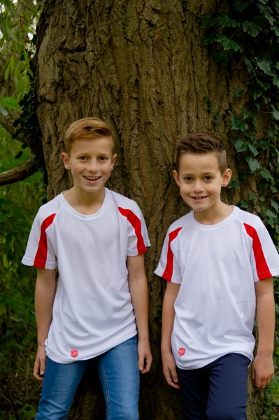 Children's Sports T-shirt - White and Red