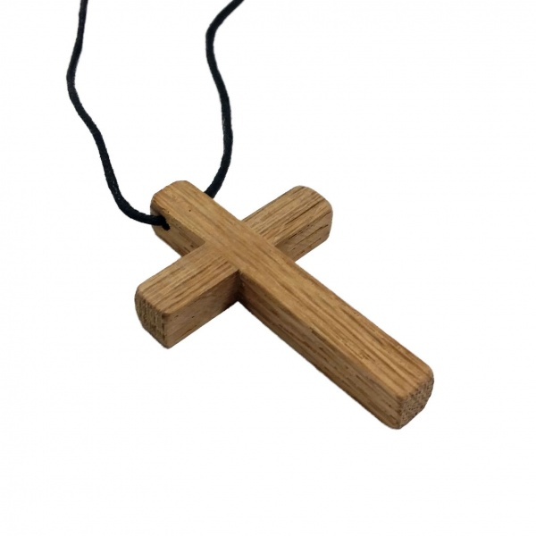 Handmade Wooden Cross Pendant with Leather Necklace