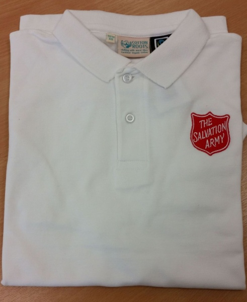 Kid's White Polo Shirt with Red Shield