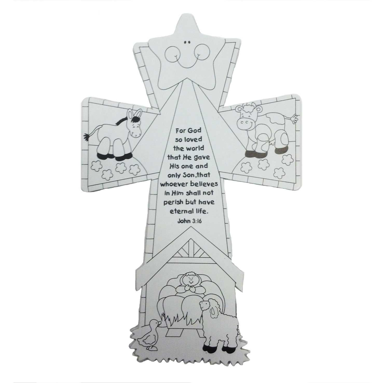 Colour Your Own Nativity Cross