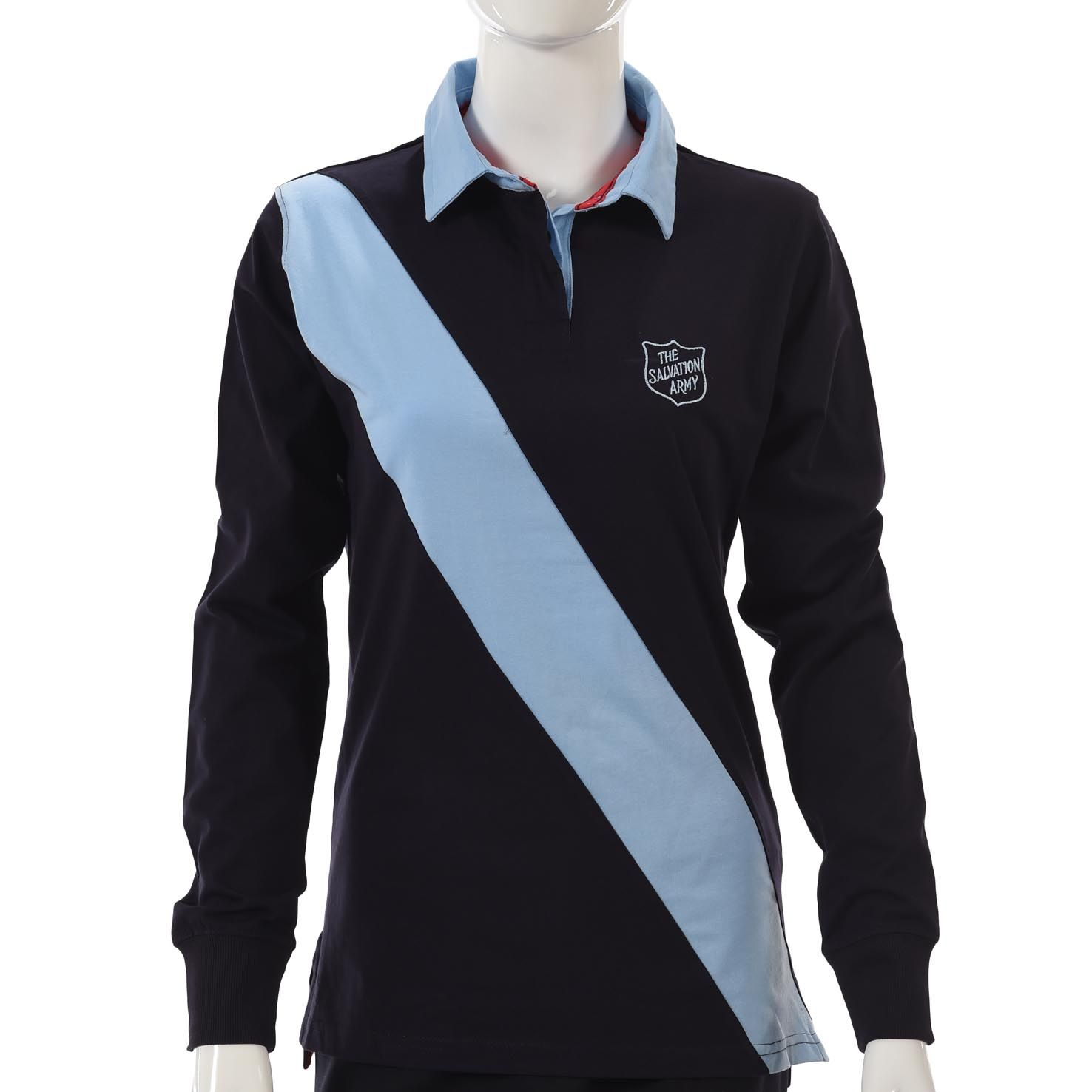 Diagonal Stripe Rugby Shirt - Navy / Blue Shield