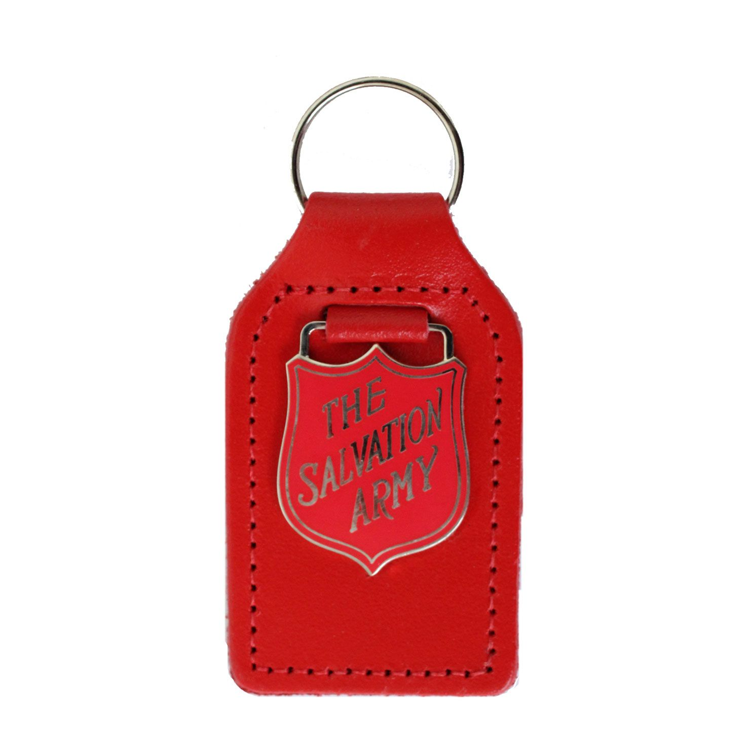 Key Fob - Red Shield on Leather