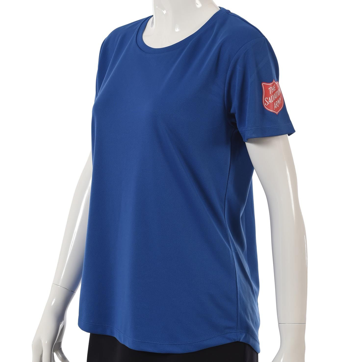 Ladies Coolfit T-Shirt in Royal Blue with Red Shield