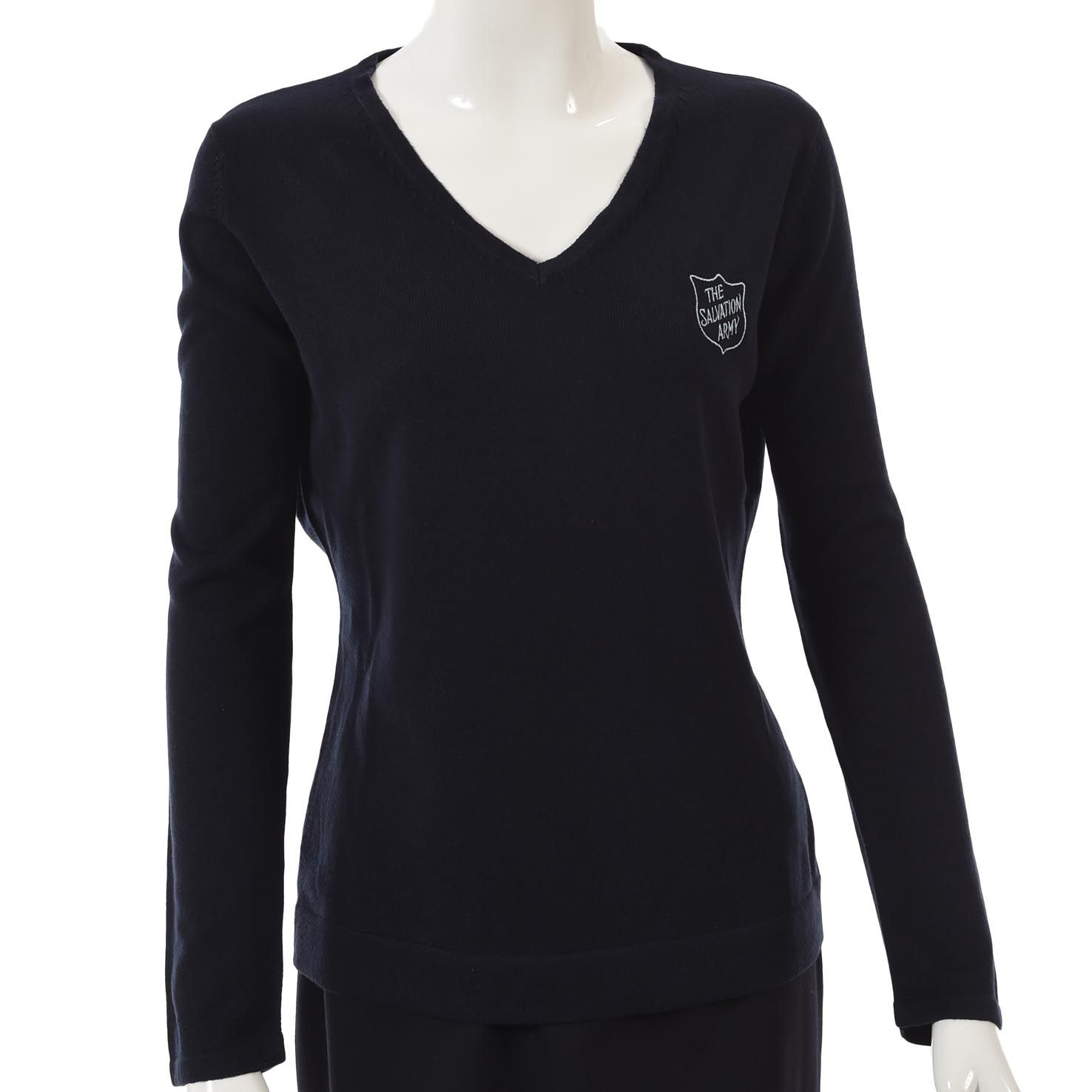 Ladies Lightweight V-Neck Navy Pullover with Blue Shield Logo