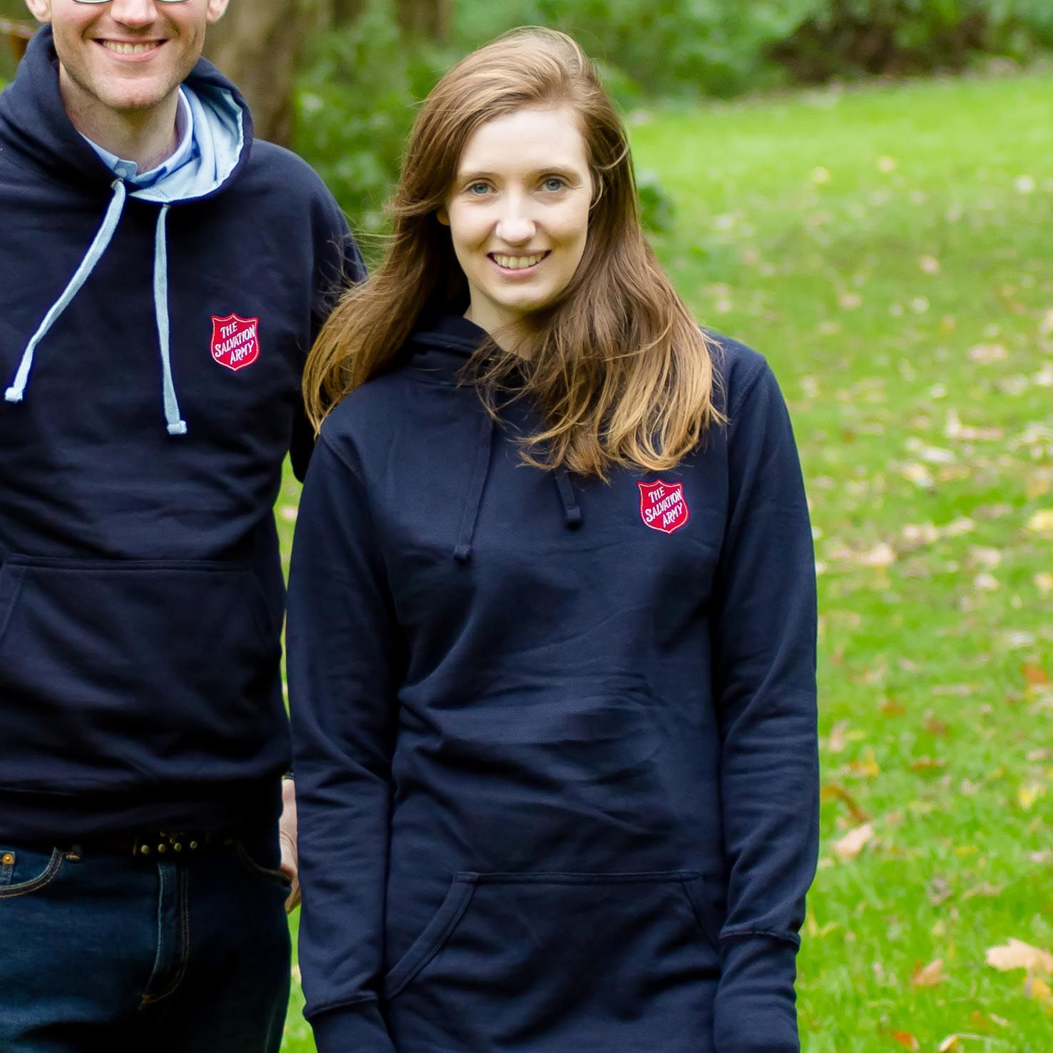 Ladies Long Line Hoodie with Red Shield