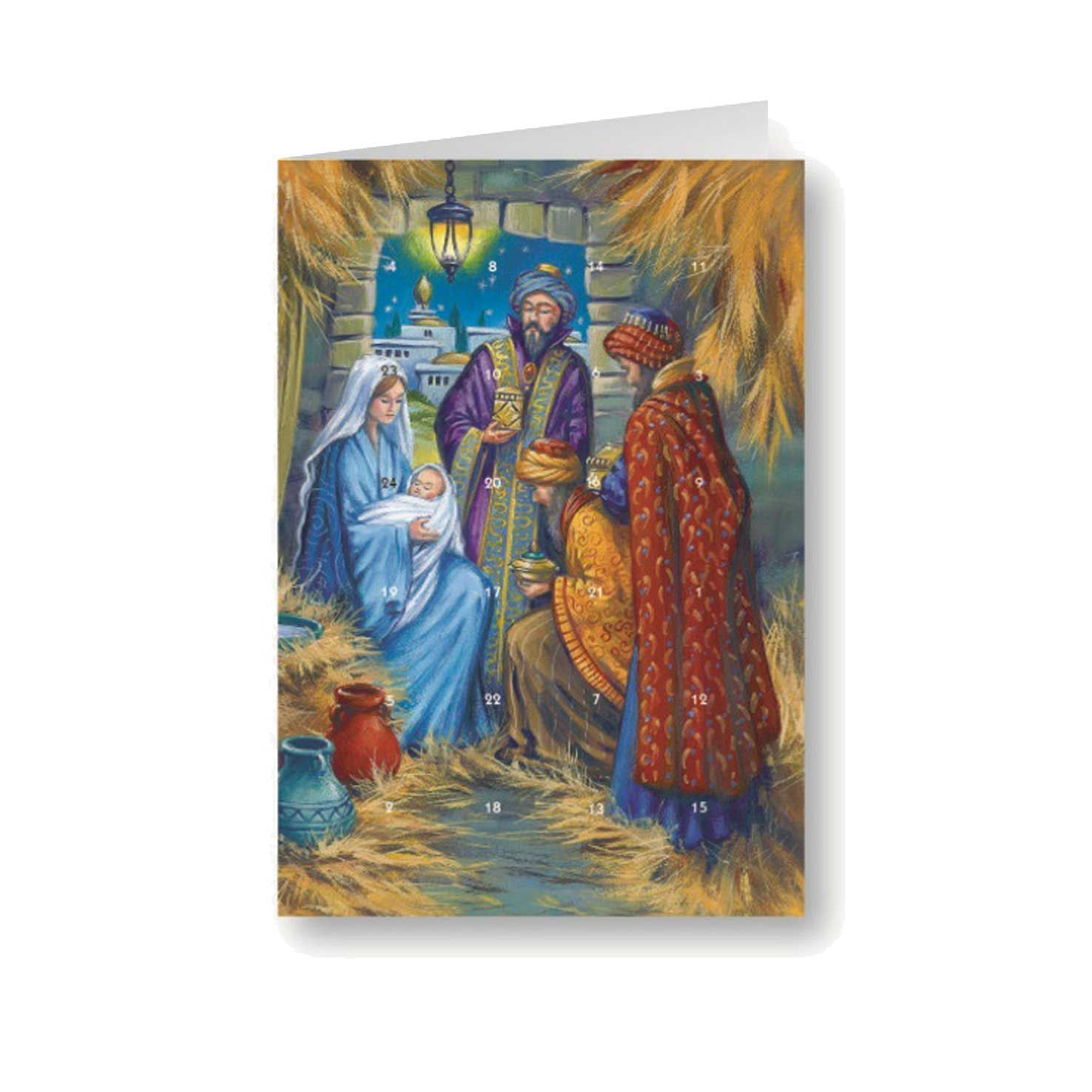 Mary, Jesus and the Wisemen Advent Calendar Card