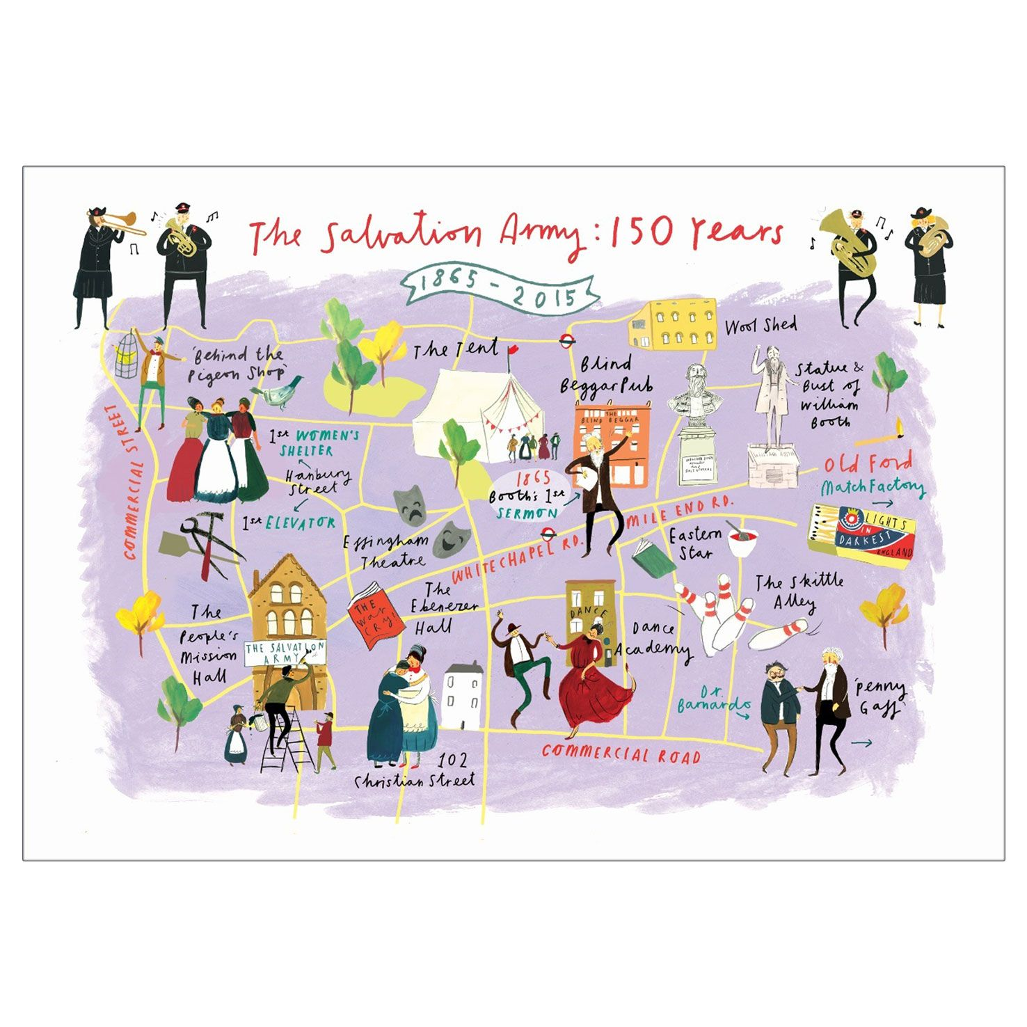 Notelets with Salvation Army Map 150 Years Image