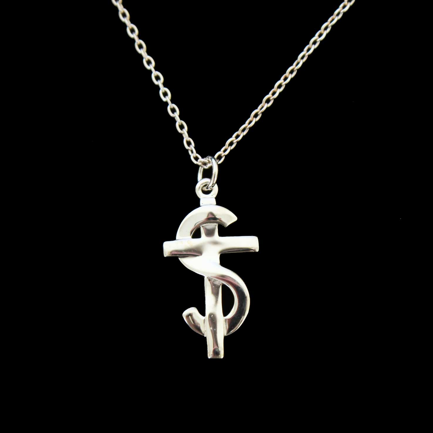 Sterling Silver S and Cross Pendant and Necklace