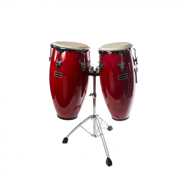 Pair of Congas with High Grade Chrome Stand and bag
